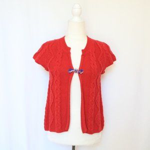 Free People Red Cable Knit Short Sleeve Cardigan S